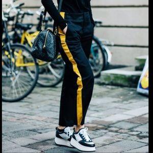 ZARA dress cotton yellow stripe pants straight leg